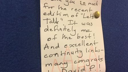 A handwritten note from a listener, thanking volunteers for their work. Photo: Bethany Wales