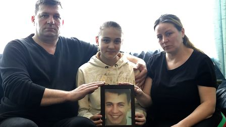The family of Claudiu Cristea, 18, who took his own life. Left to right, father Marian, sister Monic