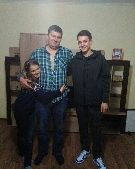 Claudiu Cristea with his father Marian and sister Monica. Picture: Cristea family