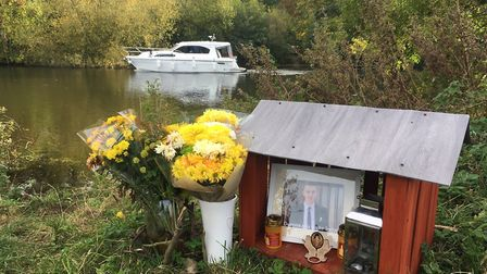 A shrine to Claudiu Cristea was left by the Rive Yare shortly after he died. Picture: Archant