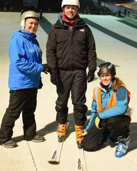 John Churcher successfully learning to ski at Norfolk Snowsports Club, despite being registered blin