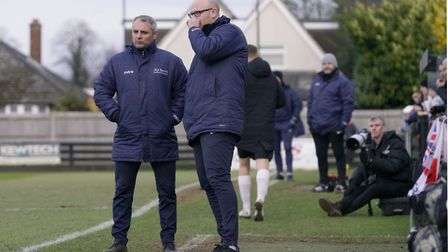 Lowestoft Town managers Jamie Godbold and Andy Reynolds. Picture: Shirley D Whitlow