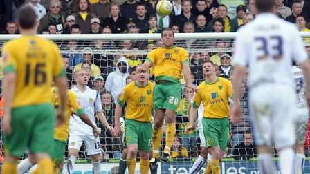Darel Russell heads clear as Norwich City defeat Leeds Picture: Archant
