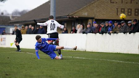 Action from Lowestoft's 1-0 win over Stourbridge. Picture: Shirley D Whitlow