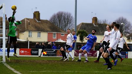 Lowestoft's Connor Deeks heads for goal against Stourbridge. Picture: Shirley D Whitlow