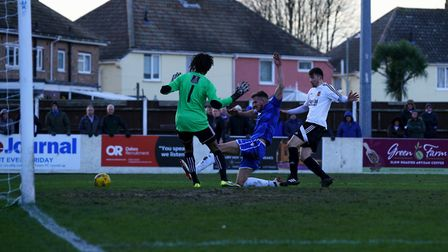 Lowestoft's Shaun Bammant in action during the Blues' 1-0 win over Stourbridge. Picture: Shirley D W