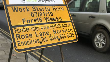 A sign warning about roadworks in Rose Lane, Norwich. Picture: Victoria Pertusa