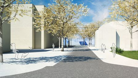 Norwich Community Hospital Plans. Illustrative view looking north from Bowthorpe Road towards the ne