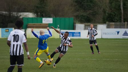 Action from King's Lynn Town's draw at St Ives Picture: Louise Thompson