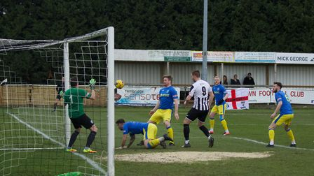 Goalmouth action from King's Lynn Town's draw at St Ives Picture: Louise Thompson