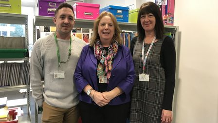 Mandy Thomas (centre), behaviour manager at King's Lynn Academy, with her TAs, Dan Cowling (left) an