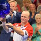 Stewart Anderson after winning the Men's Final at the World Bowls Championship, Potters. PICTURE: Ja