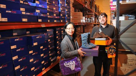 Monica and Martin Lott of Miss Shoes and Fuel Your Own Fashion at their Hellesdon warehouse base.; P