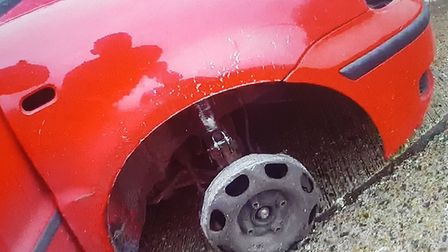 A car was stopped by police on the A11 missing a front tyre. Picture: Norfolk Police
