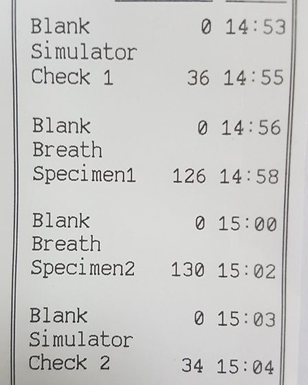 The driver on the A11 missing a front wheel gave a breath test three and half times over the drink d