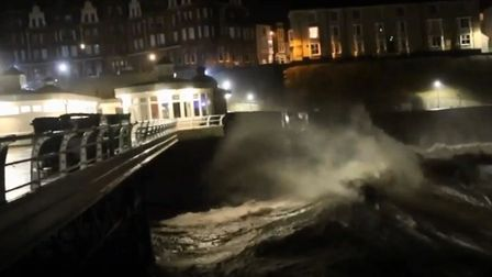 Cromer Pier was battered by storms last night. Photo: Chris Taylor