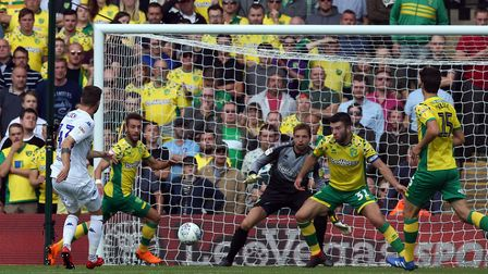 Mateusz Klich scores the opener for Leeds in a 3-0 win at Carrow Road earlier this season Picture: P