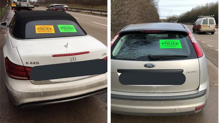The disqualified driver of a Mercedes was arrested and an uninsured Ford Focus was seized on the A11