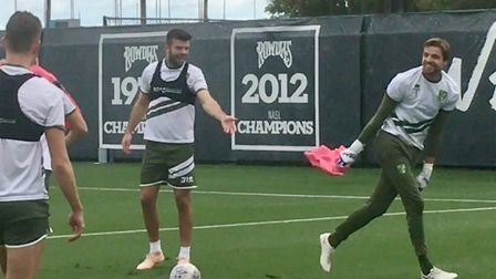 Norwich City held an open training session during their Tampa tour - Grant Hanley laughs at Tim Krul