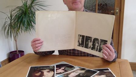 David Clayton at home with his copy of The White Album, which was given to him on Christmas Day 1968