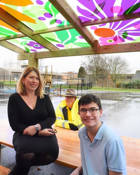 Pupil Owen Hughes, 14, in the dining pod at The Wherry School, with principal Rachel Quick, and head