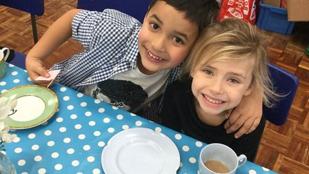 Year 1 at Mulbarton Primary School had a tea party with 'the Queen'! The children dressed in their b