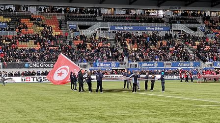 Students from Beccles Free School were flag wavers at the Saracens v Glasgow Warriors rugby match at