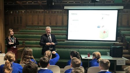 Year 6 pupils from Caister Junior School met their local MP Brandon Lewis at the Houses of Parliment