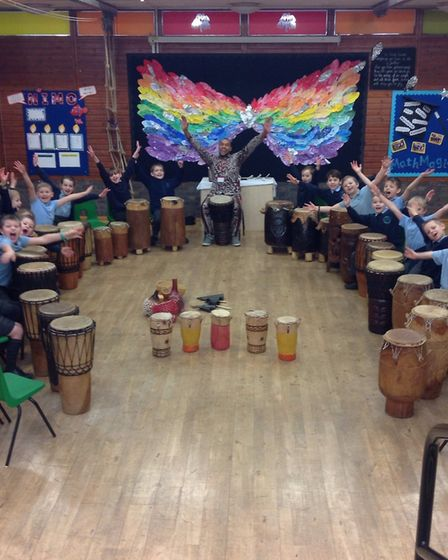 Hopton Primary School's Kenyan Day included an African drumming workshop led by Richard Olatunde Bak