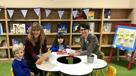 MP Chloe Smith visited the new St Clements Hill Primary Academy and spent time in the library with t