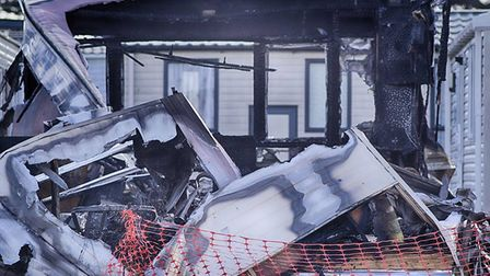 A caravan has been destroyed following a suspected arson attack at Haven holiday park in Caister. Pi
