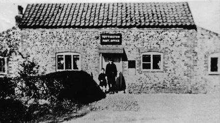 Tottington Post Office in 1931, which stood next to the old school. Mrs Balls ran the Post Office fo