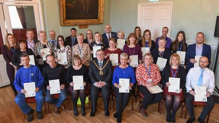 38 staff were presented with certificates for their dedicated service to the council. Photo: BCKLWN