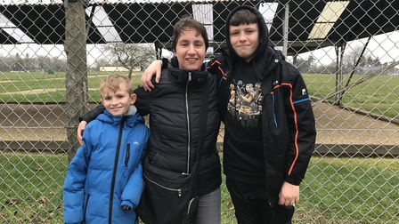 Sarah Chapman (middle) with her sons, Daniel (left) and David (right), are unhappy customers at the