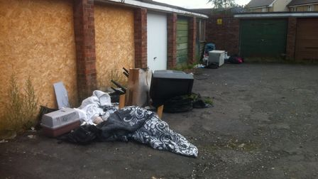 Flytipped waste in Glebe Close, Thetford in 2014, which was referenced in council documents. Picture