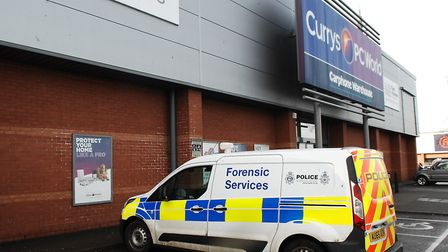 Currys PC World in King's Lynn, which was broken into overnight Picture: Chris Bishop