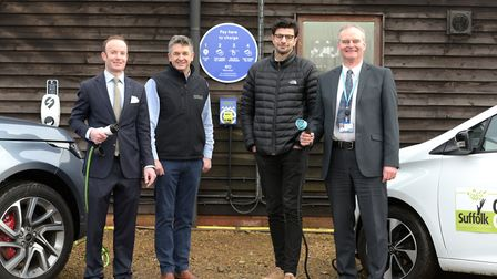 Launch of the new EO charging points at The Urban Jungle in Beccles L-R Richard Rout (Cabinet membe