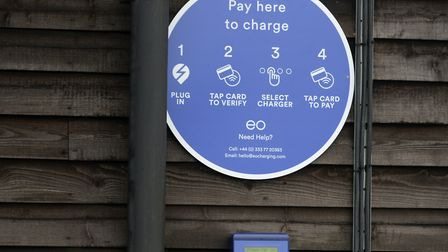 The new contactless EO Charging point at the Urban Jungle in Beccles Picture: SARAH LUCY BROWN