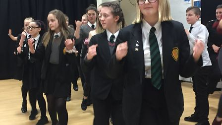 Pupils from Sewell Park Academy took part in Zumba practice for a flashmob. Picture: Michelle Savage