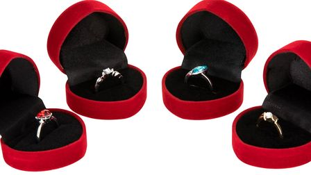 All four avaliable engagement rings from Poundland. Photo: Supplied by Talker Tailor