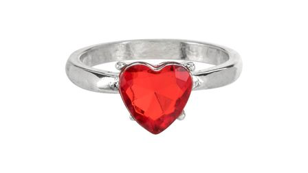 Red heart cut engagement ring from Poundland. Photo: Supplied by Talker Tailor