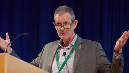 Prof Andrew Fearne of the UEA's Norwich Business School speaking at the 2019 Norfolk Farming Confere