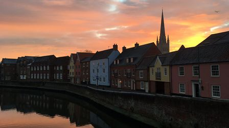 Sunrise on a frosty winter morning by the River Wensum in Norwich. Picture: Chris Hill