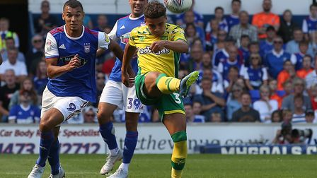 Max Aarons made his league debut for the Canaries at Portman Road earlier this season Picture: Paul