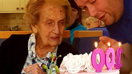 Olga Millson turned 100 at her home at Hethersett Hall on January 30, 2019. Photo: Submitted