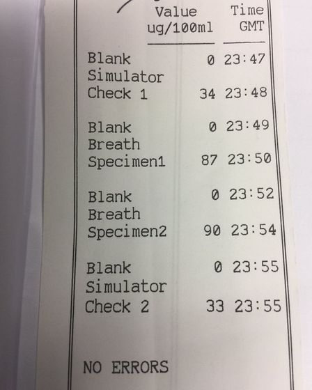 The breath test results of a driver who was arrested for drink driving in Beccles after a road traff