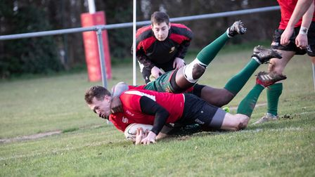 Donavan Dejongh touches down for North Walsham in his final game for the club before travelling over