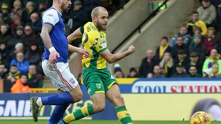 Teemu Pukki fired the Canaries 2-0 up against Ipswich with a clinical finish Picture: Paul Chesterto