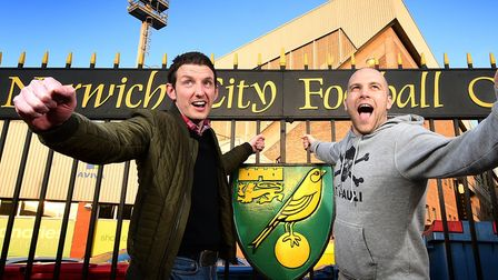 NCFC fans Jon Punt, left, and Andy Lawn. Picture: ANTONY KELLY