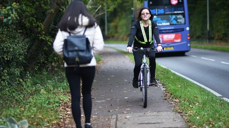 One of the designated shared cycle and pedestrian paths in Bluebell Road in Norwich. Picture: ANTONY